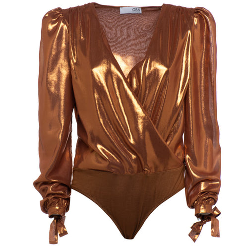 Body con incrocio a V laminato bronzo