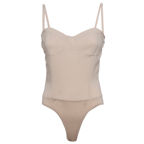 Body bustier in crepe cady color gesso