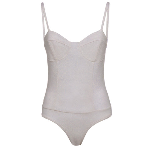 Body bustier in viscosa di lurex color bianco ottico