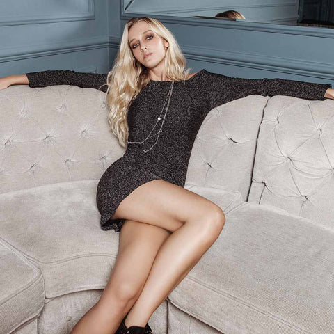 Georgina Body senza maniche in lurex di viscosa grigio scuro