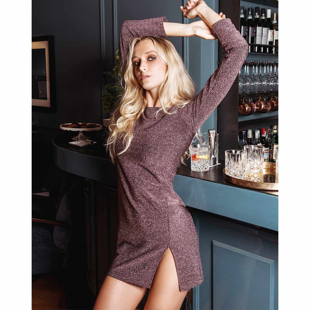 Chiara Mini dress in viscosa di lurex rosa