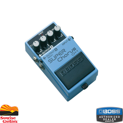 Sunrise Guitars in Fayetteville, Arkansas is proud to carry the Boss CH-1 Super Chorus. The CH-1 Super Chorus pedal delivers a clean classic chorus sound with crystal-clear highs and a unique stereo effect, variable between left and right speakers.
