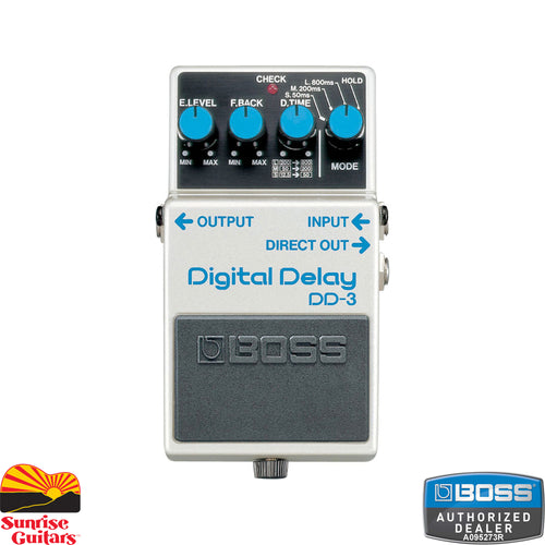 Sunrise Guitars in Fayetteville, Arkansas is proud to carry the Boss DD-3 Digital Delay. This compact pedal provides a digital delay effect with outstanding quality equivalent to that of a dedicated rack mount delay unit, all with simple stompbox-style control.
