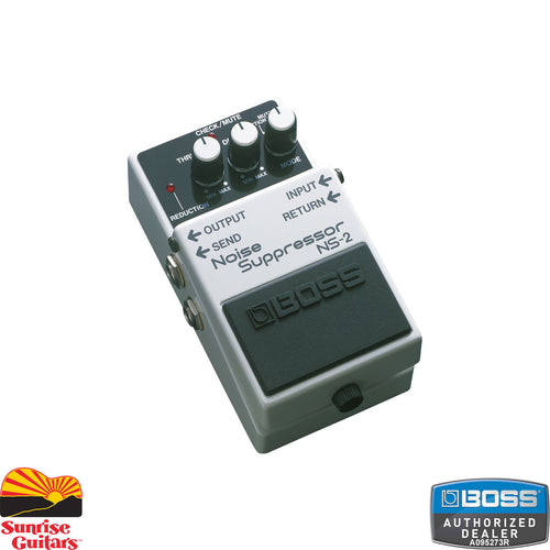 Sunrise Guitars in Fayetteville, Arkansas is proud to carry the Boss NS-2 Noise Suppressor. The NS-2 Noise Suppressor eliminates unwanted noise and hum without altering an instrument's natural tone. It's the perfect pedal to quiet down any pedalboard or effects setup.