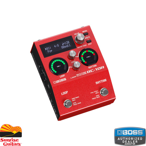 Sunrise Guitars in Fayetteville, Arkansas is proud to carry the Boss RC-10R Rhythm Loop Station. Combining song-based looping and organic rhythms in a compact package, the RC-10R brings fresh inspiration to live performances, songwriting sessions, and daily practice.