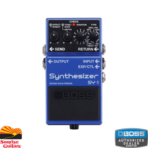 Sunrise Guitars in Fayetteville, Arkansas is proud to carry the Boss SY-1 Synthesizer pedal. With the SY-1, it's never been easier to infuse your creative arsenal with BOSS's legendary guitar synth technology. This amazingly expressive tool is filled with 121 ultra-responsive sounds, all distilled down into a BOSS compact pedal that slides easily into any setup.