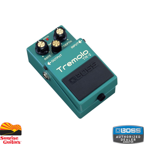"Sunrise Guitars in Fayetteville, Arkansas is proud to carry the Boss TR-2 Tremolo. The BOSS TR-2 Tremolo is designed to provide guitarists with classic tremolo effects in an easy-to-use compact pedal. Dedicated ""Wave,"" ""Rate,"" and ""Depth"" knobs provide a multitude of effect possibilities."