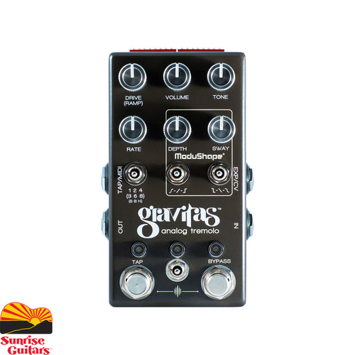 Sunrise Guitars in Fayetteville, Arkansas is proud to carry the Chase Bliss Audio Gravitas Analog Tremolo. This tremolo pedal features an all-analog signal path that can do any variety or shape of standard volume modulation, harmonic tremolo (inspired by vintage Brownface) or both simultaneously for a truly unique and beautiful tremolo sound that sits just perfectly in a mix.