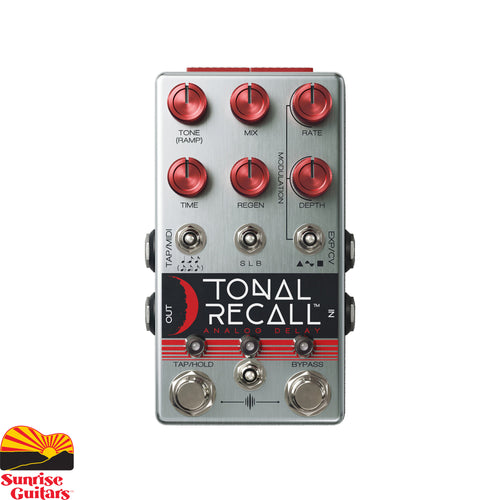 "Sunrise Guitars in Fayetteville, Arkansas is proud to carry the Chase Bliss Audio Tonal Recall RKM Analog Delay. The ""Red Knob Mod"" version of Tonal Recall is built around 4 re-issued versions of the legendary MN3005 bucket-brigade delay chips. Its maximum delay time is increased to 1100ms and the unmistakable analog character of this delay is front and center."