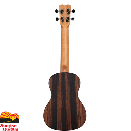Sunrise Guitars in Fayetteville, Arkansas is proud to carry the Cordoba 21C concert ukulele. The 21 Series applies the most popular guitar soundboard wood (solid spruce) with an exotic striped ebony back and sides. The aesthetic is subtle and refined with a satin finish, timeless hand-inlaid wooden rope rosette, and matching purfling.