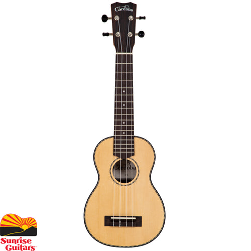 Sunrise Guitars in Fayetteville, Arkansas is proud to carry the Cordoba 21S soprano ukulele. The 21 Series applies the most popular guitar soundboard wood (solid spruce) with an exotic striped ebony back and sides. The aesthetic is subtle and refined with a satin finish, timeless hand-inlaid wooden rope rosette, and matching purfling.