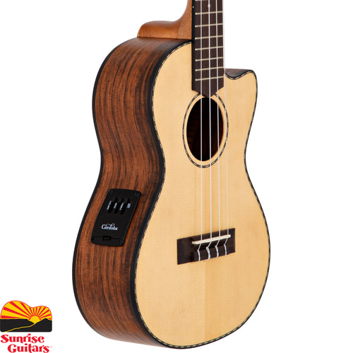 Sunrise Guitars in Fayetteville, Arkansas is proud to carry the Cordoba 21T-CE tenor ukulele. The 21 Series applies the most popular guitar soundboard wood (solid spruce) with an exotic striped ebony back and sides. The aesthetic is subtle and refined with a satin finish, timeless hand-inlaid wooden rope rosette, and matching purfling.