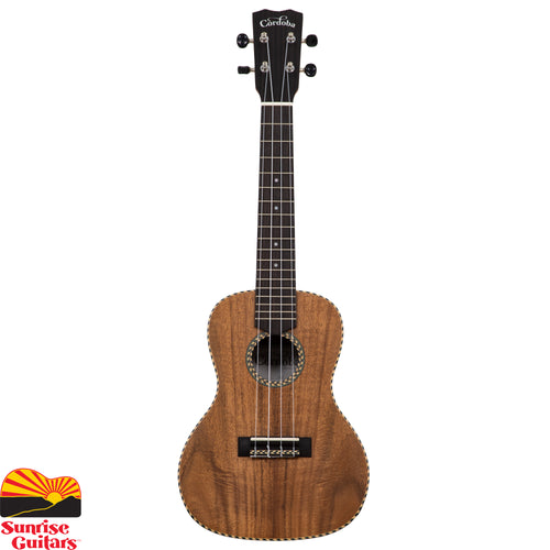 Sunrise Guitars in Fayetteville, Arkansas is proud to carry the Cordoba 25C concert ukulele. The 25 Series embodies the charm of traditional ukulele ornamentation combined with the striking natural figure of acacia, an exotic tropical wood closely related to koa, the beloved tonewood native to Hawaii.