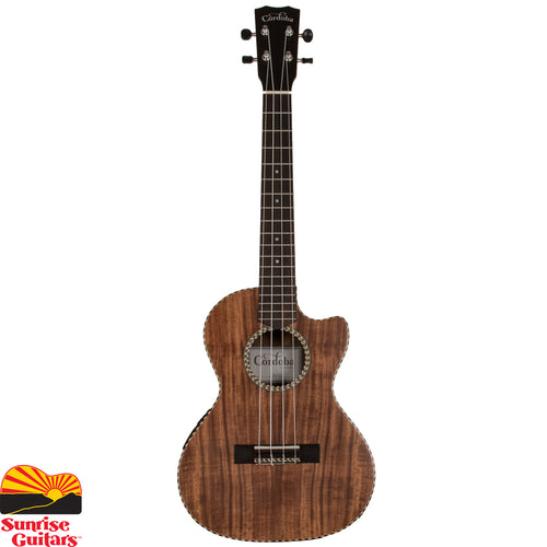 Sunrise Guitars in Fayetteville, Arkansas is proud to carry the Cordoba 25T-CE tenor ukulele. The 25 Series embodies the charm of traditional ukulele ornamentation combined with the striking natural figure of acacia, an exotic tropical wood closely related to koa, the beloved tonewood native to Hawaii.