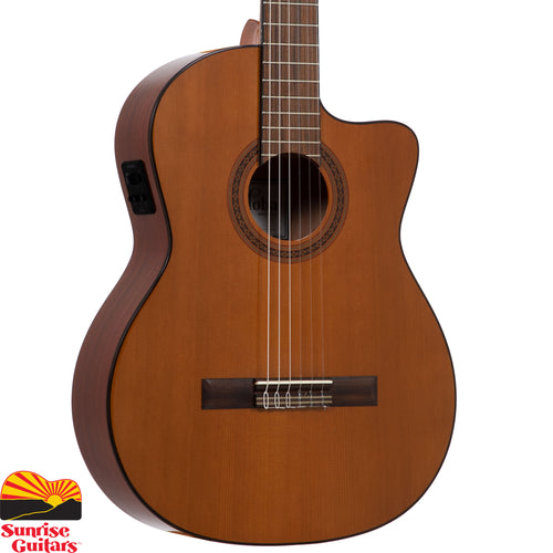 Sunrise Guitars in Fayetteville, Arkansas is proud to carry the Cordoba C5-CE. Based off of Cordoba's top-selling C5, the C5-CE adds a soft cutaway to provide easy access to the upper register, as well as Fishman Presys II preamp that amplifies your signal for stage and studio.
