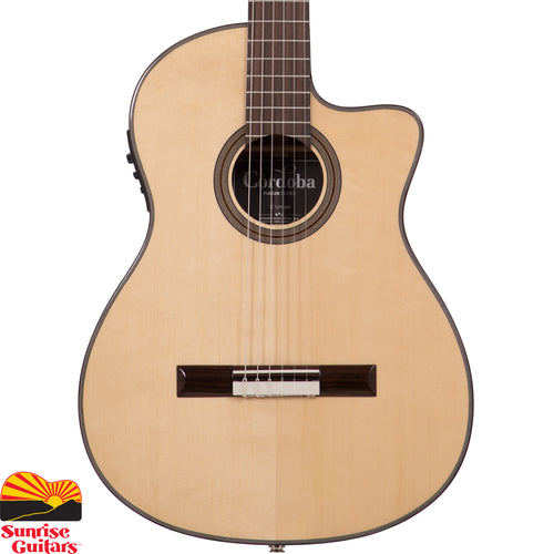 Sunrise Guitars in Fayetteville, Arkansas is proud to carry the Cordoba Fusion 12 Spruce. The 12 Natural is Cordoba's entry-level crossover guitar featuring a comfortable, slim steel-string style neck (48mm nut width) with radiused fingerboard. A European spruce top paired with mahogany back and sides.