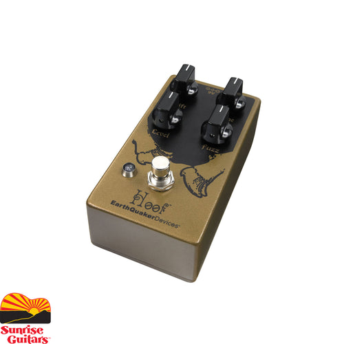 Sunrise Guitars in Fayetteville, Arkansas is proud to carry the EarthQuaker Devices Hoof V2 Hybrid Fuzz pedal. EarthQuaker's flagship fuzz pedal can be found on thousands of pedalboards around the world and has rocked countless stages from stinky suburban basements to Madison Square Garden. Twice.