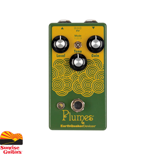 Sunrise Guitars in Fayetteville, Arkansas is proud to carry the EarthQuaker Plumes effects pedal. Plumes is a unique, all-analog approach to a classic tube-like overdrive circuit offering 3 different clipping voices, loads of headroom and almost three-dimensional clarity that will push your amp over the edge. The reimagined tone control is finely tuned to sculpt low end, clear top end, and focus midrange with blooming sustain.