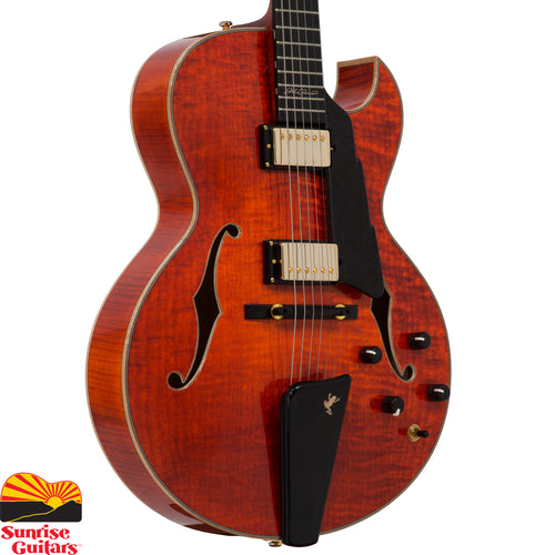 Sunrise Guitars in Fayetteville, Arkansas is proud to carry the Eastman AR380CE Honeyburst electric guitar. World renowned jazz guitarist John Pisano worked with Eastman Guitars to create a signature model that encompasses every feature and spec he ever wanted in a guitar. In collaboration with Kent Armstrong pickups, John helped design a pickup that covers the complete tonal spectrum.
