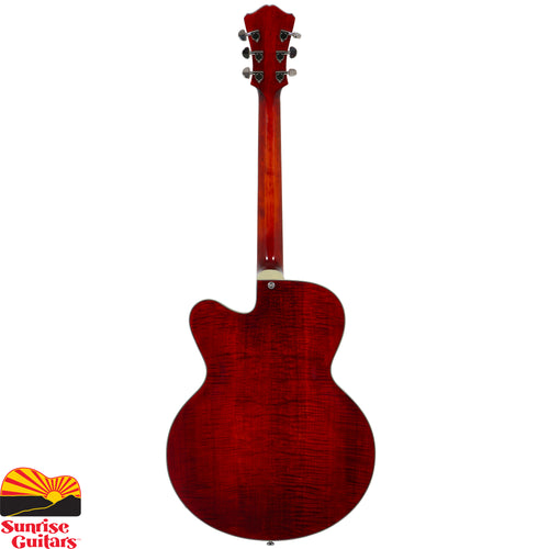 Sunrise Guitars in Fayetteville, Arkansas is proud to carry the Eastman AR503CE electric guitar. Carved Spruce top, laminated back and sides with Ebony bridge, tailpiece, pickguard and fretboard. Vintage tone with superior midrange and volume. Classic Venetian cutaway, mounted humbucking pickup design.