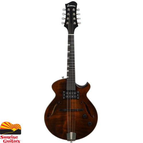 "Sunrise Guitars in Fayetteville, Arkansas is proud to carry the Eastman ER-M mandolin. Individually hand-built using traditional materials & ""Old World"" craftsmanship. Solid Maple Top, Solid One Piece Mahogany back & sides with Ebony fingerboard & adjustable ebony bridge."