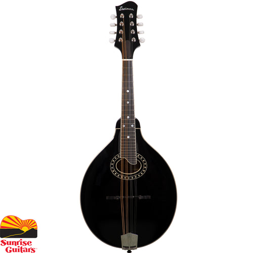 "Sunrise Guitars in Fayetteville, Arkansas is proud to carry the Eastman MD404 Black mandolin. Individually hand-built using traditional materials & ""Old World"" craftsmanship. Solid Spruce Top, Solid Mahogany back & sides with Ebony fingerboard & adjustable ebony bridge. A-style body with oval sound hole for  round liquid tones and excellent projection."
