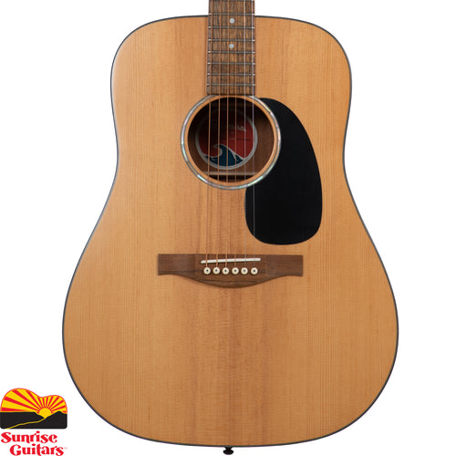 Sunrise Guitars in Fayetteville, Arkansas is proud to carry the Eastman PCH1-D acoustic guitar. The Eastman PCH1-D Dreadnought Guitar Is apart of the 'Pacific Coast Highway' series of guitars that offer a quality solid top instrument for those who are looking for a lower priced alternative without a lot of the imperfections of most low-end guitars. These instruments are also perfect for beginners who want to start off with a quality product.