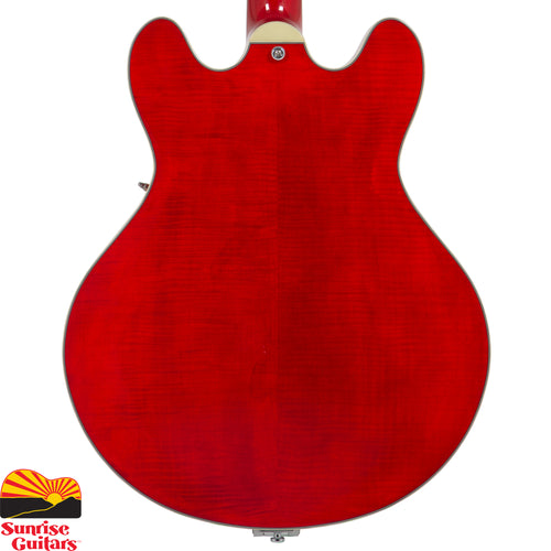 "Sunrise Guitars in Fayetteville, Arkansas is proud to carry the Eastman T486B Red electric guitar. A full-size 16"" thinline. Laminate Maple Top, Laminate Maple back and sides with versatile, responsive, with plenty of tone and attitude!"