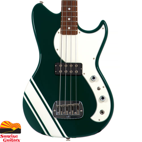"Sunrise Guitars in Fayetteville, Arkansas is proud to carry the G&L Fallout Bass Launch Edition British Racing Green. This 30"" short scale powerhouse features a G&L Magnetic Field Design humbucking pickup controlled by a 3-position mini–toggle switch for parallel/split/OMG modes – just like an L-1000 – bringing anything from modern to old school tones to your fingertips."