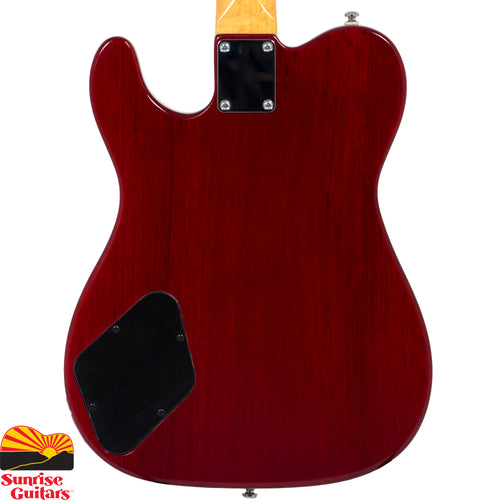 Sunrise Guitars in Fayetteville, Arkansas is proud to carry the G&L Tribute ASAT Junior II Trans Red electric guitar. G&L ASATs: Great players have been workin' 'em and G&L's been moddin' 'em for nearly 30 years. Ash, Alder, Mahogany, Korina … solid and semi-hollow … MFD and Alnico single-coils, humbuckers, P90s … two-pickup, three-pickup – you get the point: the ASAT's a tone machine, and now G&L's Tribute Series has grown with the tweaked-for-tone ASAT Junior II.