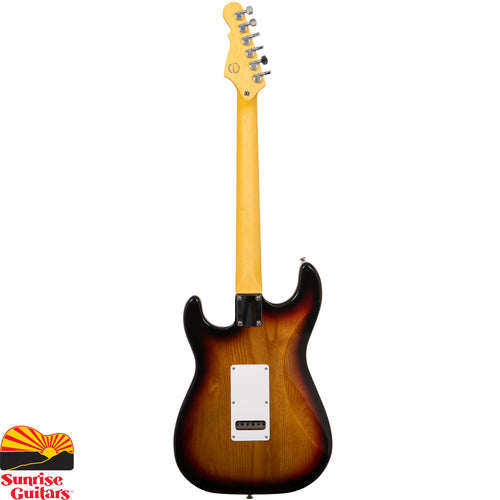 Sunrise Guitars in Fayetteville, Arkansas is proud to carry the G&L Tribute Legacy HSS 3 Tone Sunburst electric guitar. The G&L Legacy HSS fattens things up with a G&L AW4370B Alnico bridge humbucker to complement the vintage alnico G&L CLF-100 single coils in the neck and middle positions.