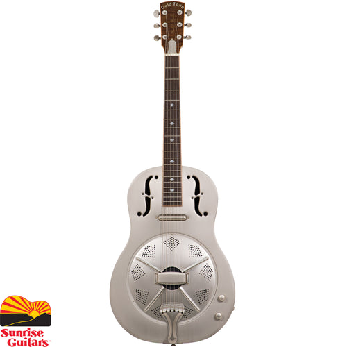 "Sunrise Guitars in Fayetteville, Arkansas is proud to carry the Gold Tone GRE resonator guitar. While its thin steel body provides sweet acoustic tone, The GRE really shines when plugged in. The magic made by its authentic ""lipstick"" pickup enhances any playing style, from bottleneck blues to precision fingerpicking."