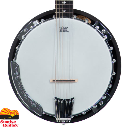 Sunrise Guitars in Fayetteville, Arkansas is proud to carry the Gold Tone GT-500 banjitar. The Gold Tone GT-500 6-string Banjitar is the most sought after 6-string banjo guitar in its class. it was designed by guitar players for guitar players. Traditionally-styled with a maple rim and maple resonator, the GT-500's pot assembly joins with a comfortable maple neck crowned with a rosewood fingerboard.