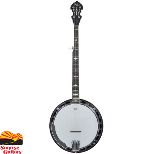 "Sunrise Guitars in Fayetteville, Arkansas is proud to carry the Gold Tone OB-150 banjo. ""Pre-war"" style, at a price anyone can afford, and authentic tone and superb playability describe the OB-150. This Bluegrass banjo sports a three-ply maple rim and one-piece flange (just like the megabucks originals), a maple neck inlayed in authentic style, a brass flathead tone ring and a smooth satin finish."