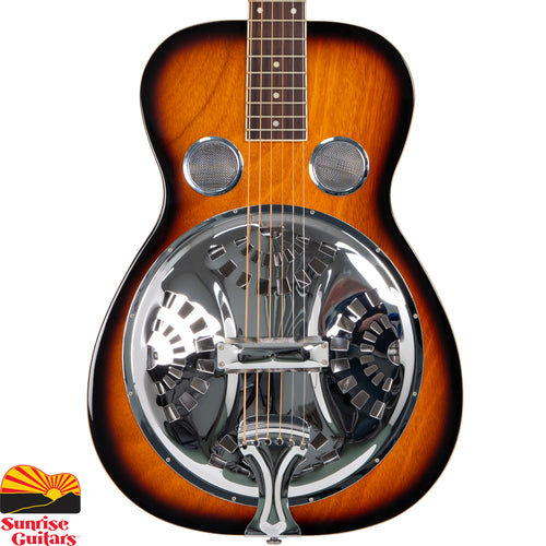 "Sunrise Guitars in Fayetteville, Arkansas is proud to carry the Gold Tone PBS square neck resonator guitar. The handsome mahogany body and neck (finished in a rich tobacco sunburst) plays host to the famed Paul Beard ""open"" soundwell, resonator cone and spider bridge. This workhorse resonator guitar is a Bluegrass stalwart that's ruggedly built to take life in the honkytonks in stride."