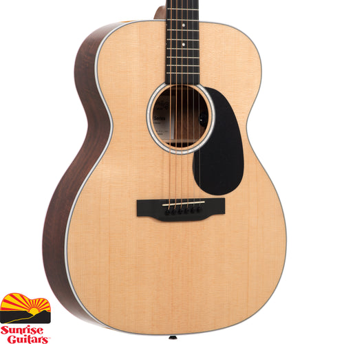 Sunrise Guitars in Fayetteville, Arkansas is proud to carry the Martin 000-13E acoustic guitar. With a gorgeous glossed Sitka spruce top and siris back and sides, this solid wood Auditorium model is a great sounding guitar at an affordable price. New to this model are stunning mother-of-pearl pattern fingerboard and rosette inlays, a multi-stripe rosette border, and white binding.