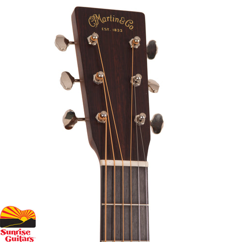 Sunrise Guitars in Fayetteville, Arkansas is proud to carry the Martin 000-18 acoustic guitar. Carrying a distinct vintage-inspired design and updated like the D-18 a few years ago, the redesigned 000-18 offers many of the features found in our pre-war era guitars. The 000-18, which has a beautiful aging toned top in Sitka spruce, is married with genuine mahogany back and sides.