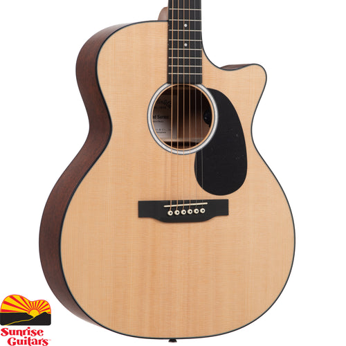 Sunrise Guitars in Fayetteville, Arkansas is proud to carry the Martin GPC-11E acoustic guitar. With a gorgeous glossed Sitka spruce top and sapele back and sides, this solid wood Grand Performance model with cutaway is a great sounding guitar at an affordable price.
