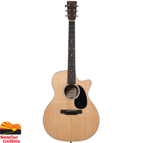 Sunrise Guitars in Fayetteville, Arkansas is proud to carry the Martin GPC-13E acoustic guitar. With a gorgeous glossed Sitka spruce top and mutenye back and sides, this solid wood Grand Performance cutaway model is a great sounding guitar at an affordable price.