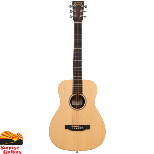 Sunrise Guitars in Fayetteville, Arkansas is proud to carry the Martin LX1 acoustic guitar. While the Little Martin is Martin's smallest guitar, it is very big on tone, quality and versatility. The LX1 model features a solid Sitka spruce top and mahogany high-pressure laminate HPL back, sides and top. It's ideal for travel, student practice or for just playing around the house or campfire.