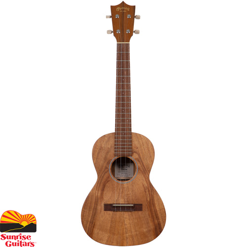 Sunrise Guitars in Fayetteville, Arkansas is proud to carry the Martin T1K tenor ukulele. Martin has built the world's finest ukuleles since 1916, and tenor ukes since 1929 that have long been prized for their full-bodied voice and great volume. The T1K tenor-sized model features top, back and sides crafted of solid Hawaiian koa, a wood native to Hawaii and a favorite of island players.
