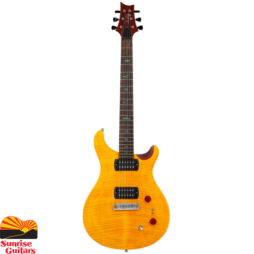 "Sunrise Guitars in Fayetteville, Arkansas is proud to carry the PRS SE Paul's Guitar Amber electric guitar. The SE Paul's Guitar delivers a lot of ""PRS,"" starting with tone and versatility. The TCI ""S"" treble and bass pickups deliver a very pure, vintage sound."