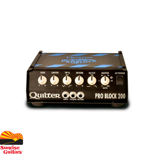 Sunrise Guitars in Fayetteville, Arkansas is proud to carry the Quilter Pro Block 200 Head. The Quilter Pro Block 200 is a next generation guitar head powerful enough to take on even the most heavyweight amp, but light enough and small enough to cozy up on your board with your favorite pedals. With rack mounting options, you can even build the ultimate stereo amplifier for your rack modelers.