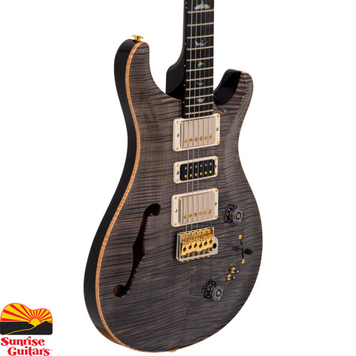 Sunrise Guitars in Fayetteville, Arkansas is proud to carry the PRS Special 22 Semi-Hollow Limited Faded Grey Black electric guitar. 1 of only 8 made for the Dallas Guitar Festival. This one has an Artist Grade Flame Maple top, Mahogany neck, and a Mahogany body.