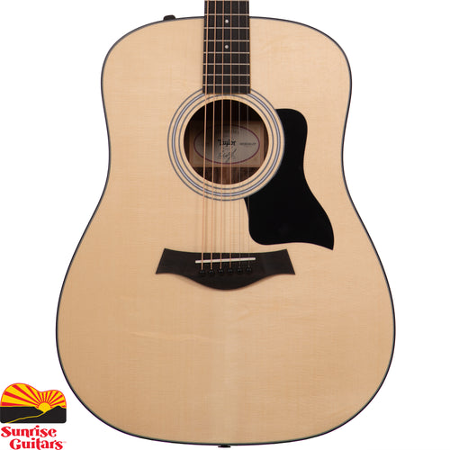 Sunrise Guitars in Fayetteville, Arkansas is proud to carry the Taylor 110e acoustic guitar. This Taylor Dreadnought pairs layered walnut back and sides with a solid spruce top, pumping out full-voiced tone that responds to strummers and flatpickers with deep lows, punchy mids, and clear treble notes.