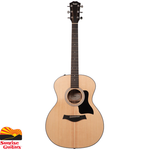 Sunrise Guitars in Fayetteville, Arkansas is proud to carry the Taylor 114e acoustic guitar. The 114e features Taylor's popular Grand Auditorium body style, whose physical dimensions have made it a popular choice for its appealing performance versatility.