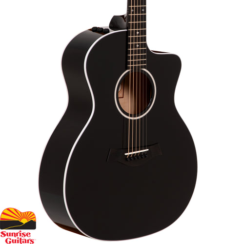 Sunrise Guitars in Fayetteville, Arkansas is proud to carry the Taylor 214ce Black Deluxe acoustic guitar. Crisp white binding on a full-gloss, all-black body highlights the contours of this eye-catching all-black 200 Series Deluxe Grand Auditorium.