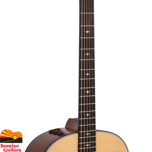 Sunrise Guitars in Fayetteville, Arkansas is proud to carry the Taylor 317e acoustic guitar. The Grand Pacific 317e, featuring Taylor's new round-shoulder dreadnought body voiced with Taylor's award-winning V-Class bracing, helps usher in a whole new Taylor sound. Notes blend smoothly together to produce a warm and seasoned acoustic voice with clear low-end power.
