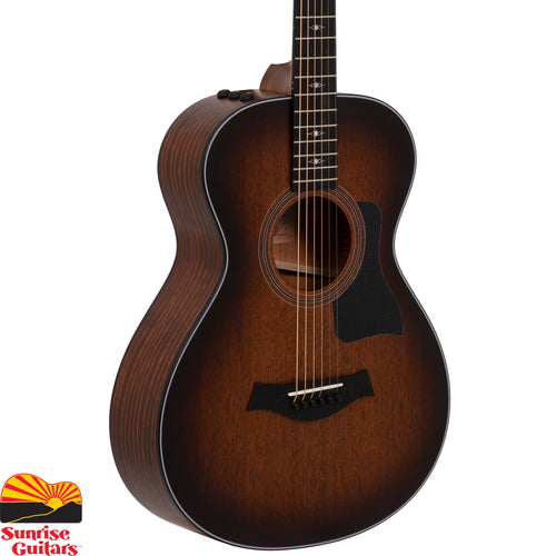 Sunrise Guitars in Fayetteville, Arkansas is proud to carry the Taylor 322e 12-Fret acoustic guitar. Taylor's V-Class bracing lends extra power, sustain and sweetness to this non-cutaway 12-fret Grand Concert, broadening its musical range. Blackwood back and sides produce a strong voice—even in small-body GC—with a pleasing midrange focus and a splash of top-end shimmer, while the mahogany top adds a touch of natural compression to smooth out the response from top to bottom.