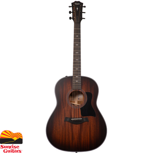 Sunrise Guitars in Fayetteville, Arkansas is proud to carry the Taylor 327e acoustic guitar. A new addition to Taylor's growing family of Grand Pacific guitars, the 327e is a round-shoulder dreadnought featuring Tasmanian blackwood back and sides with a solid mahogany top.